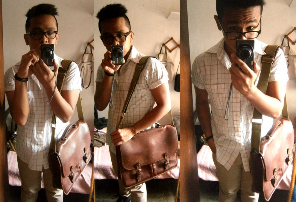 Summer-y feeling. Neutrals galore! Balenciaga cotton shirt and vintage Mulberry wexford messenger - Manila Mulberry Bag Philippines