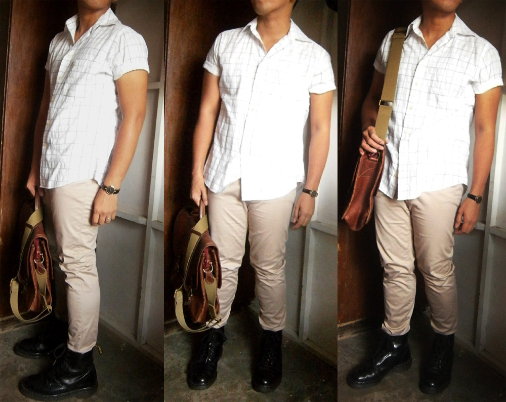 Brown bag and black shoes? Balenciaga cotton shirt, tailored skinny khaki pants, black 8-hole Doc Martens, vintage brown Mulberry wexford messenger - Manila Mulberry Bag Philippines