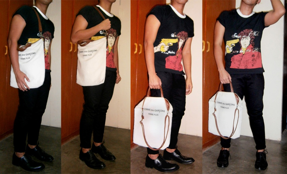"Comme des Garçons canvas and leather tote, John Galliano ""Save my face"" shirt from S/S 2010 , Cour Carré leather shoes - Manila, Philippines"