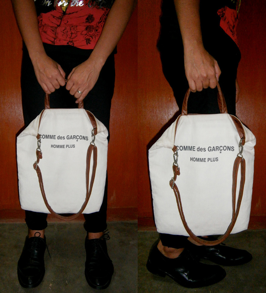 "Comme des Garçons canvas and leather tote, John Galliano ""Save my face"" shirt from S/S 2010 , Cour Carré leather shoes"