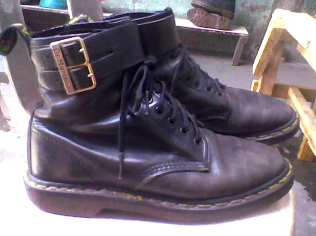 Black 8-hole Doc Martens with leather strap and buckle detail - Manila, Philippines