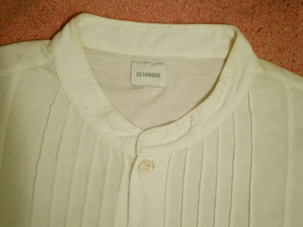 Jil Sander white button up shirt with ribbed detail