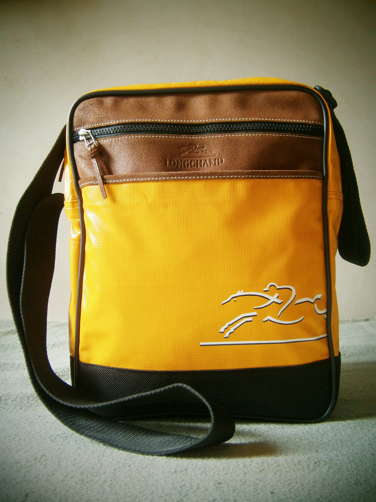 Longchamp Yellow Orange Coated Canvas messenger bag - Manila, Philippines