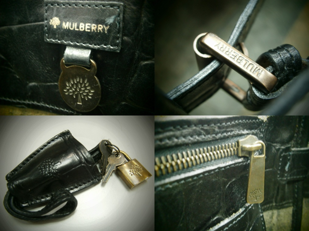 Mulberry Bayswater in Congo Leather - leather tag, buckles, clochette, lock, zipper pull - Manila, Philippines
