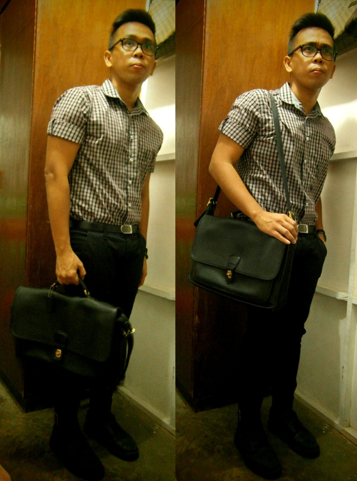 Checkered shirt, tailored pants, vintage Coach messenger briefcase, Lanvin belt, 8-hole Doc Martens with strap and buckle detail - Coach Bag Philippines