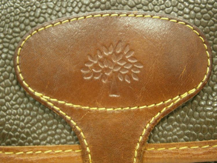Mulberry logo heatstamp - vintage Mulberry Scotchgrain messenger bag