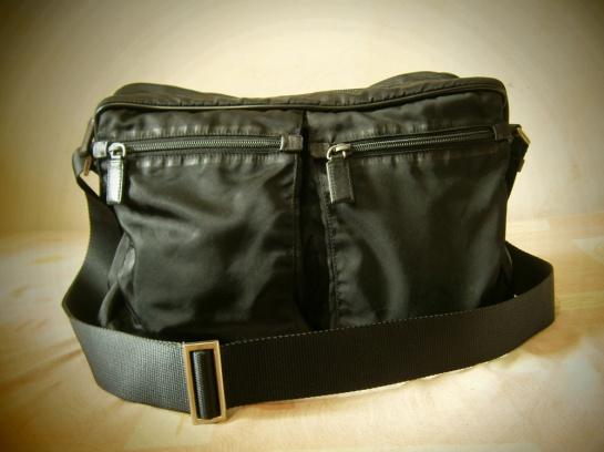 69331956c231 Prada Black Nylon and Saffiano Messenger Sling bag