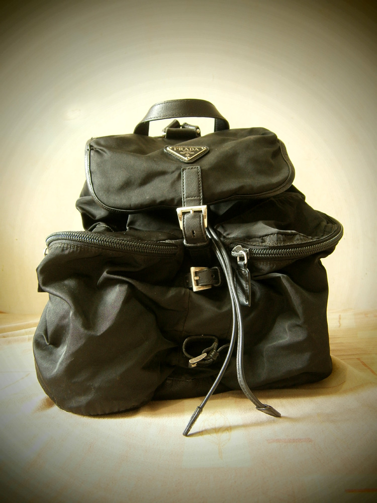 Prada Large Black Nylon and Saffiano Backpack