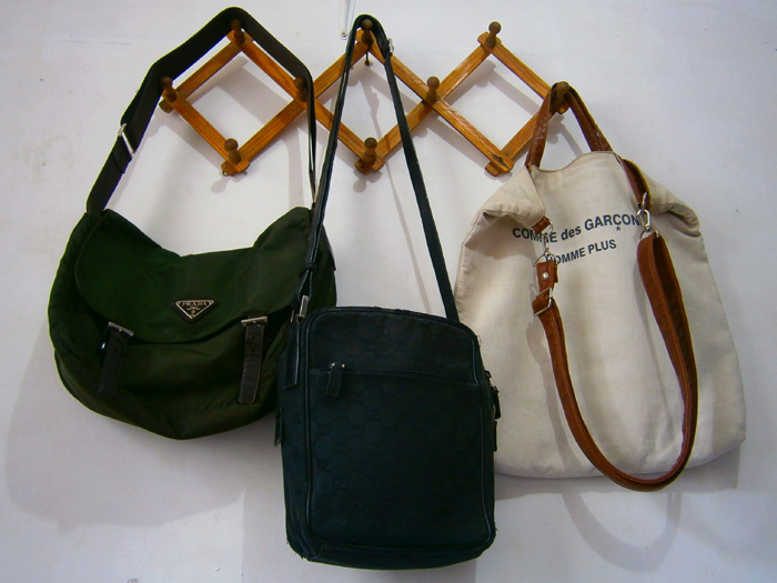 e792580d5232 The lighter bags by the wall next to my bed. (Prada tessuto messenger,