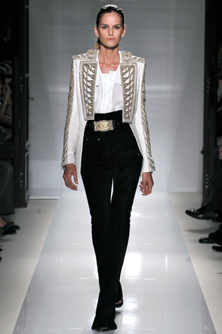 CL wearing this embellished jacket on Izabel Goulart from Balmain Spring/Summer 2012