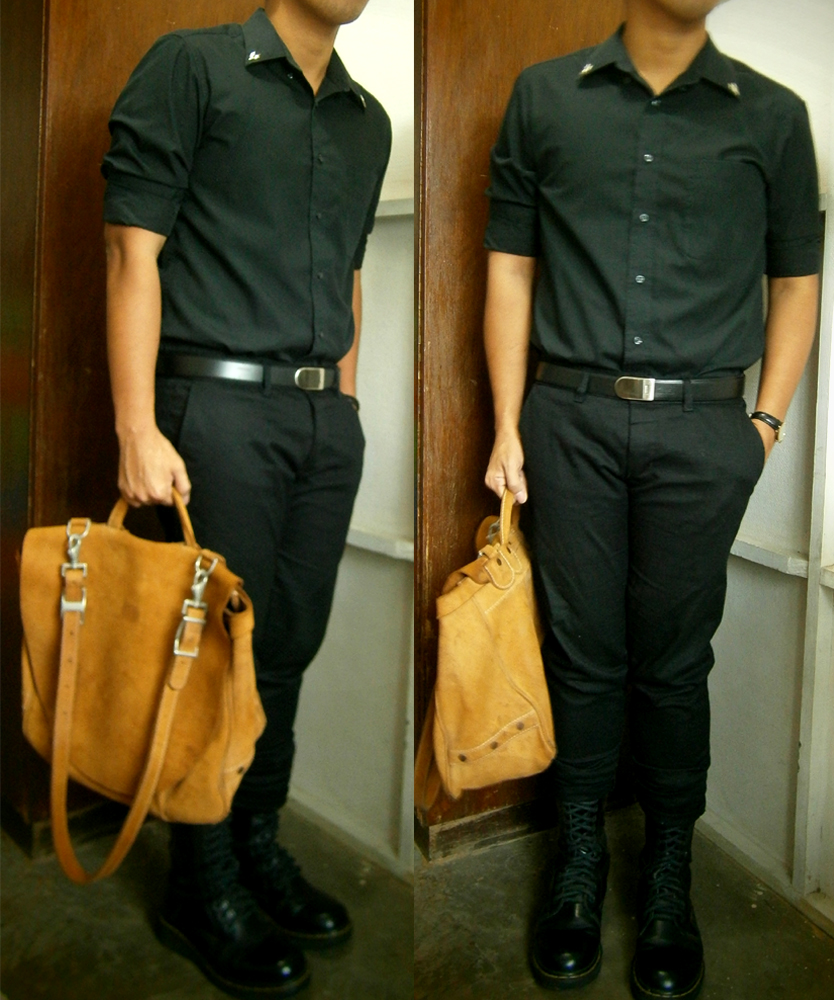 Black shirt with DIY studded collar, Lanvin belt, tailored skinny pants, 14-hole Doc Martens, J.Peterman Counterefit Mailbag - Manila, Philippines