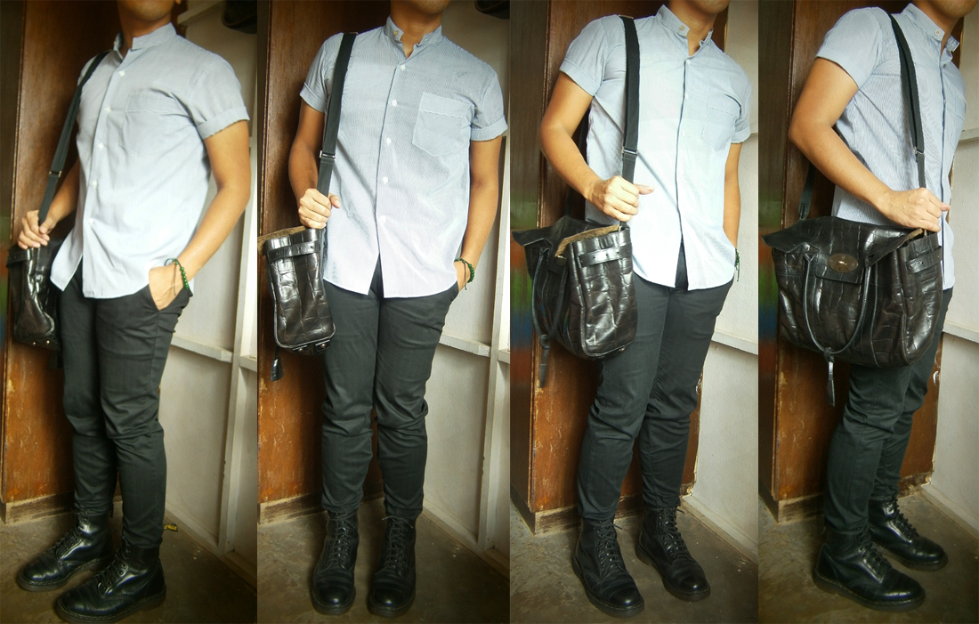 Pinstripe Chinese-collar shirt, black skinny pants, 8-hole Doc Martens, Mulberry Bayswater in Congo leather - Mulberry Bag Philippines