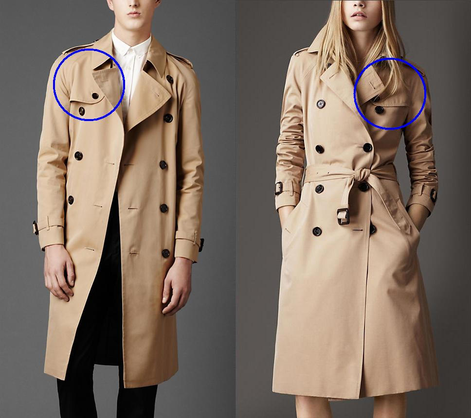 cd842621 Difference between men's and women's trench coats - the storm patch/rain  flap