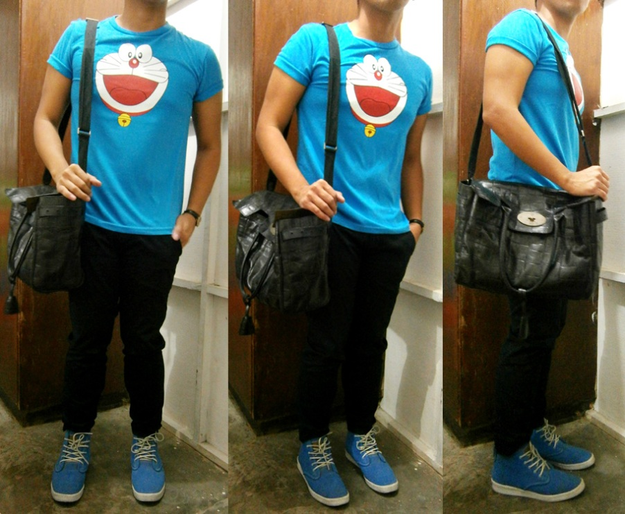 "A guy with Mulberry Bayswater: Doraemon shirt, black skinny pants, blue Adidas Ransom Dune, Mulberry Bayswater in Congo leather - Mulberry Bag Philippines ""men with mulberry bayswater"""