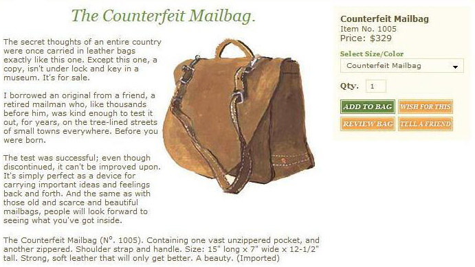 J.Peterman Counterfeit-Mailbag Product Description