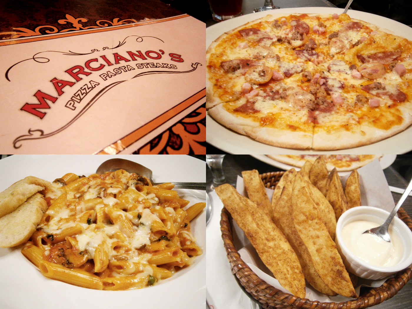 Meatlover's pizza, Legally Blonde pasta and my favorite potato wedges - Marciano's Greenbelt 3