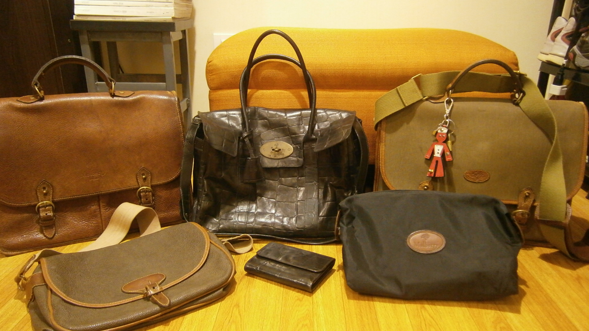 Mulberry family portrait! Mulberry Bayswater, Mulberry wexford messenger, Mulberry wexford and canvas messenger, Mulberry scotchgrain sling, Mulberry nylon pouch, Mulberry congo leather agenda - Manila, Philippines