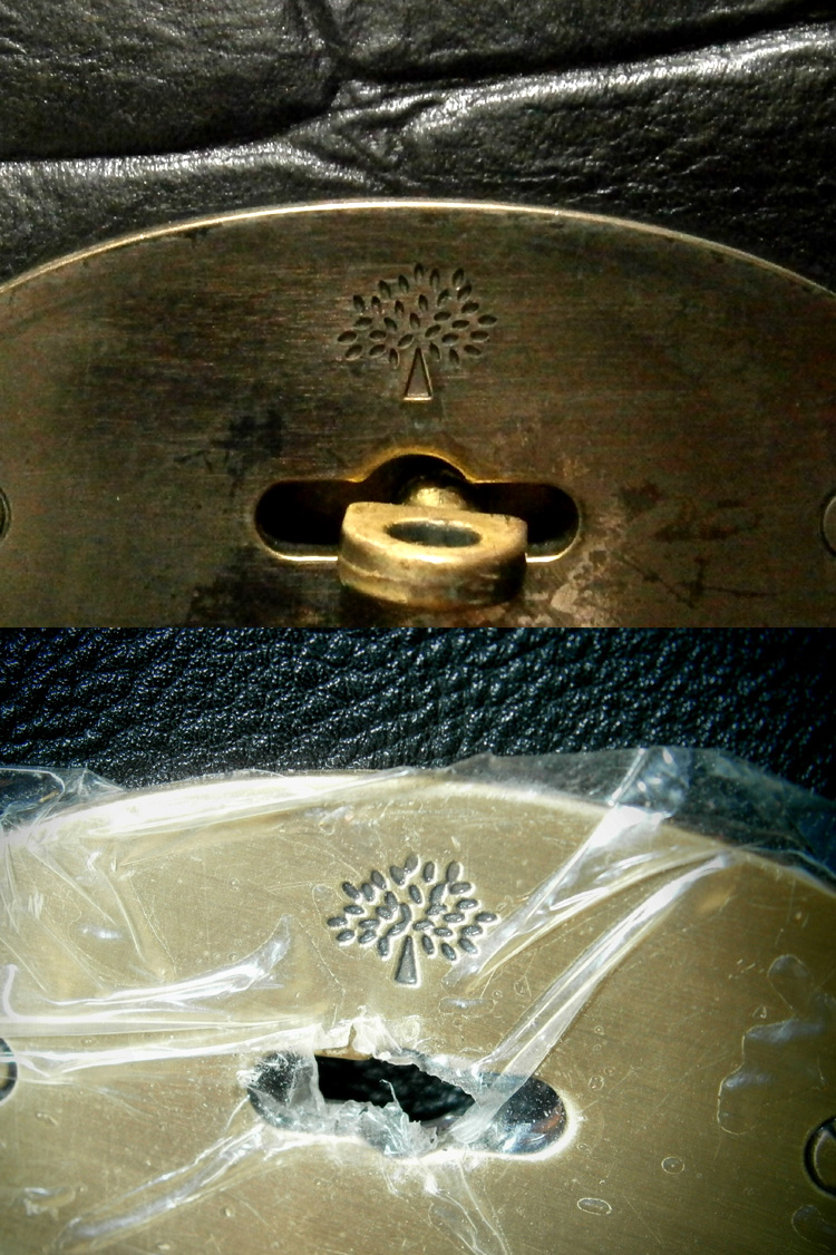 Authentic Mulberry metal plate versus fake Mulberry metal plate - Manila, Philippines