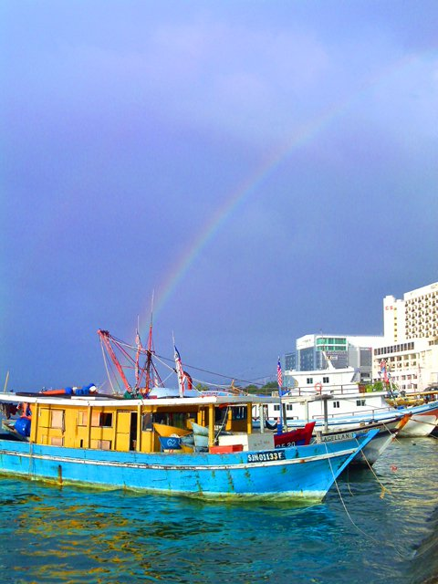 South China Sea - rainbow over Kota Kinabalu, Malaysia