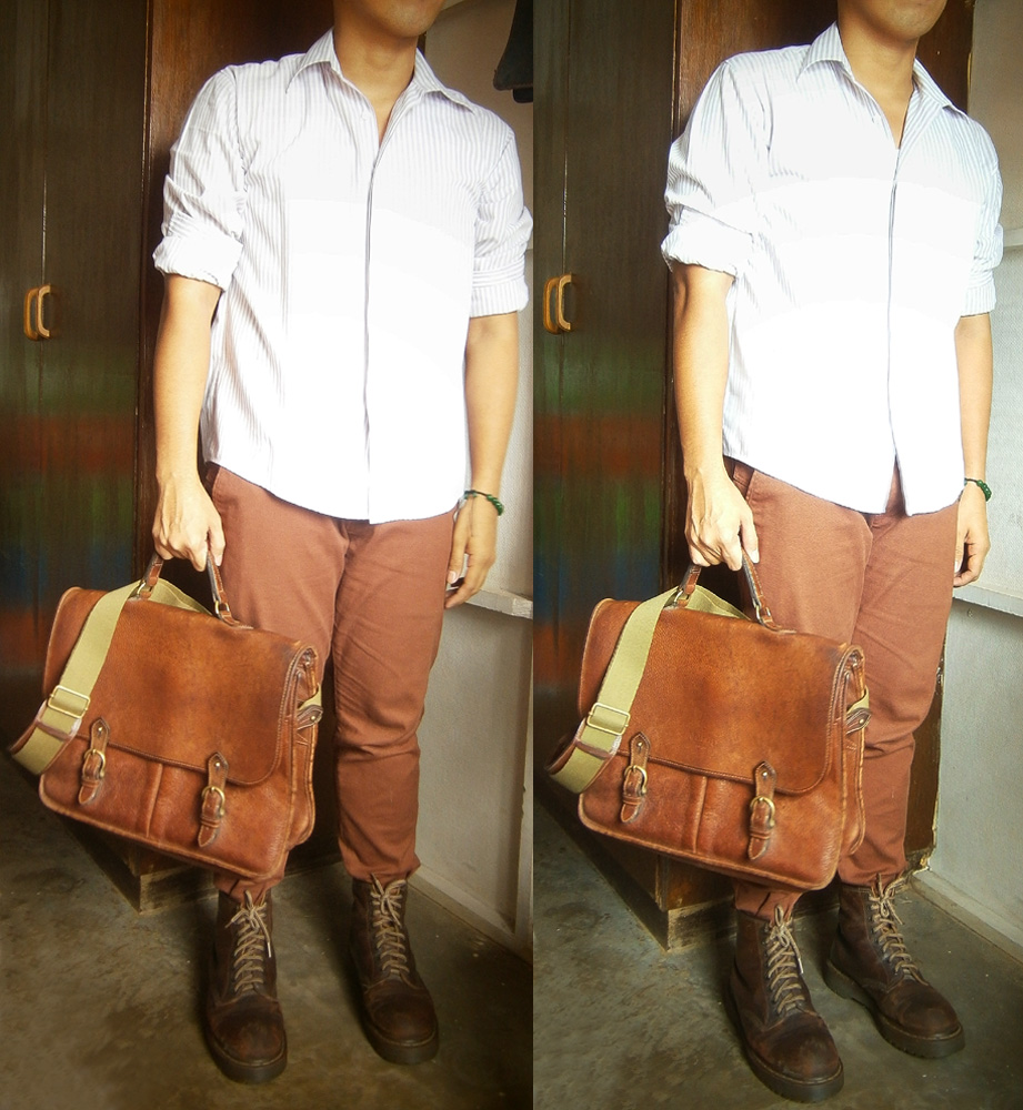 Stripes shirt, Brick colored pants, Mulberry Wexford Messenger Briefcase and Brown 8-hole Doc Martens - Mulberry Bag Philippines