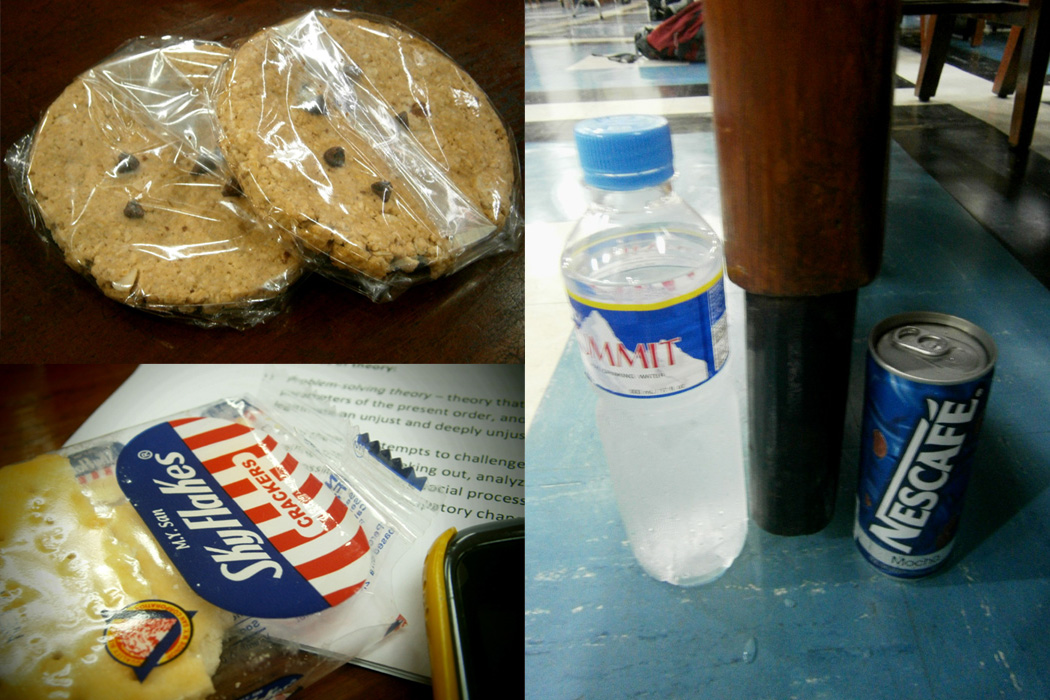 Sustenance while reviewing: oatmeal cookies, Skyflakes and beverages under the table LOL