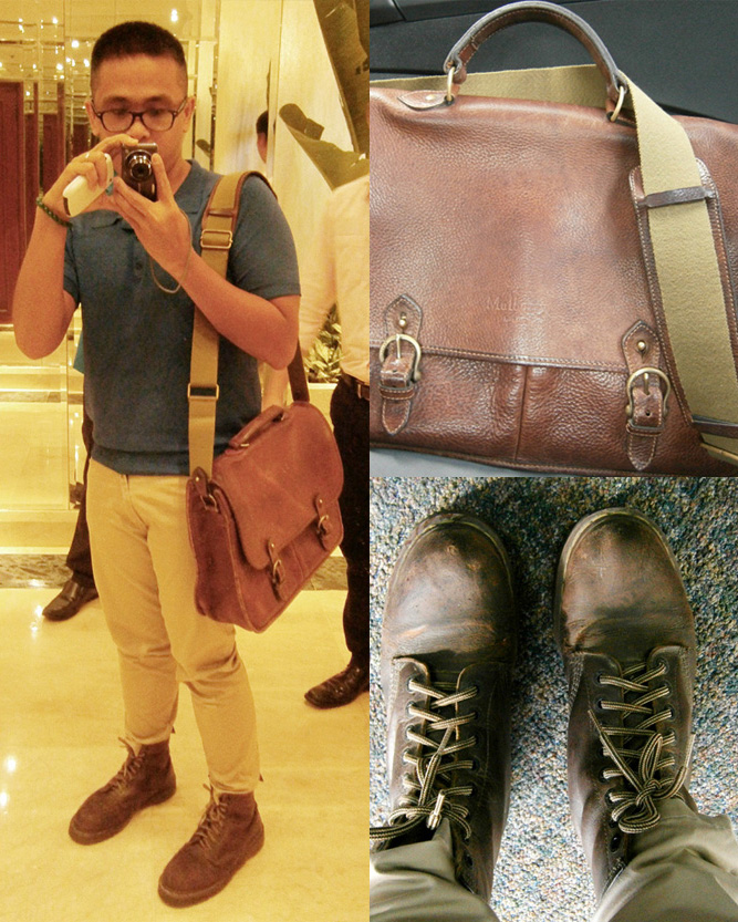 Blue shirt, skinny khaki pants, brown 8-hole Doc Martens, Mulberry Wexford leather messenger briefcase details - Manila, Philippines