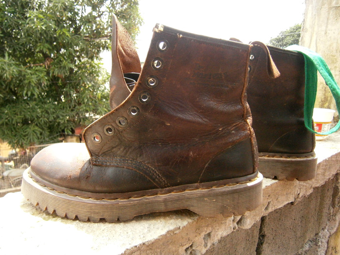 My very dirty brown 8-hole Doc Martens surviving the mud and flood - Habagat, Philippines