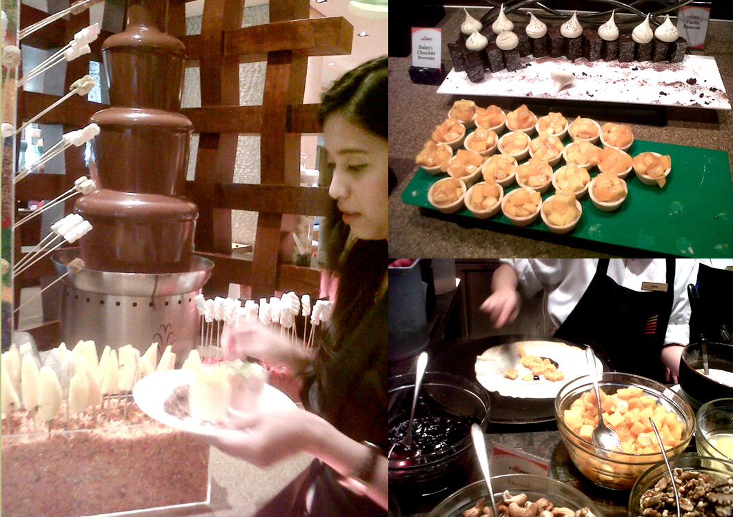 Chocolate fountain, Bailey's brownies, mango tarts and crepe - desserts at Heat, EDSA Shangri-la Mandaluyong City Philippines