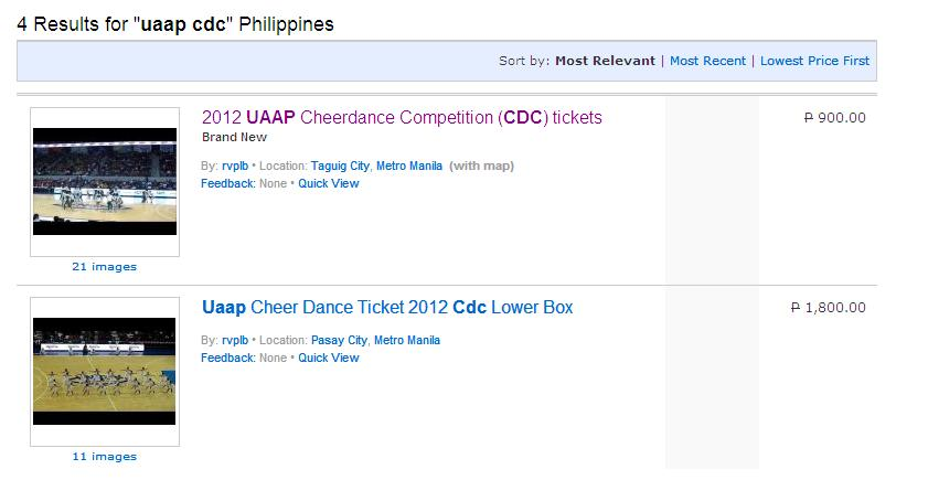 2012 UAAP CDC Scalper on Sulit.com.ph - 2012 UAAP Cheerdance Competition tickets