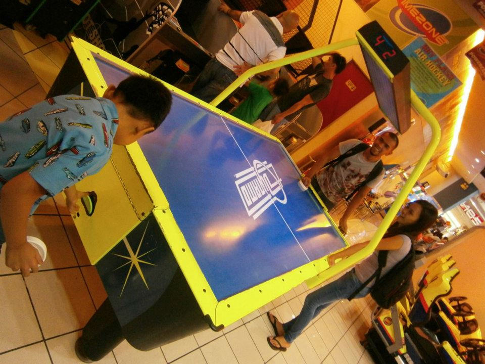 Air hockey between my brother and Brandon - Timezone, Eastwood Mall