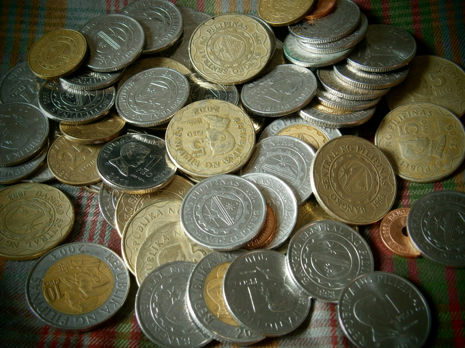 A handful of Philippine coins