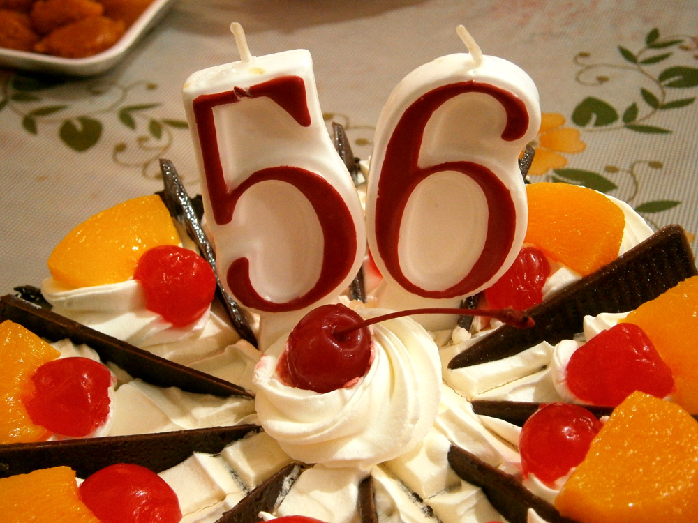 Happy 56th Birthday on a Black Forest cake - Goldilocks