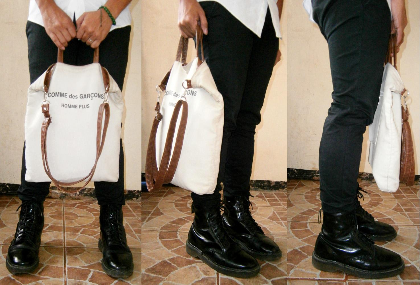 Black Giordano skinny pants, 8-hole Doc Martens, Comme des Garçons Homme Plus Canvas Tote - Manila, Philippines