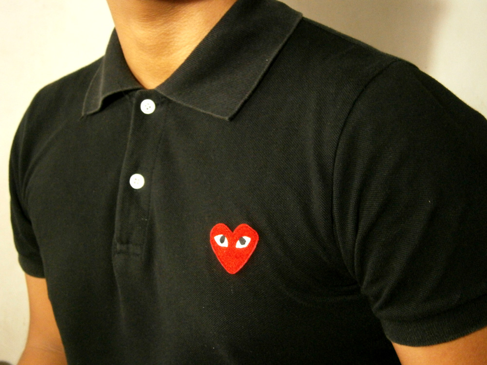 Black Play by Comme des Garcons Polo Shirt with Red Heart - Manila, Philippines