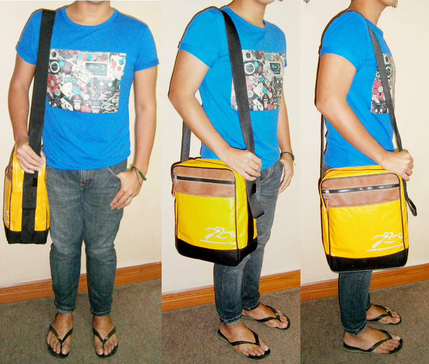 Blue graphic shirt from PLAY by Comme des Garcons, Bench Jeans, Longchamp Coated Canvas messenger and flip flops - Manila, Philippines