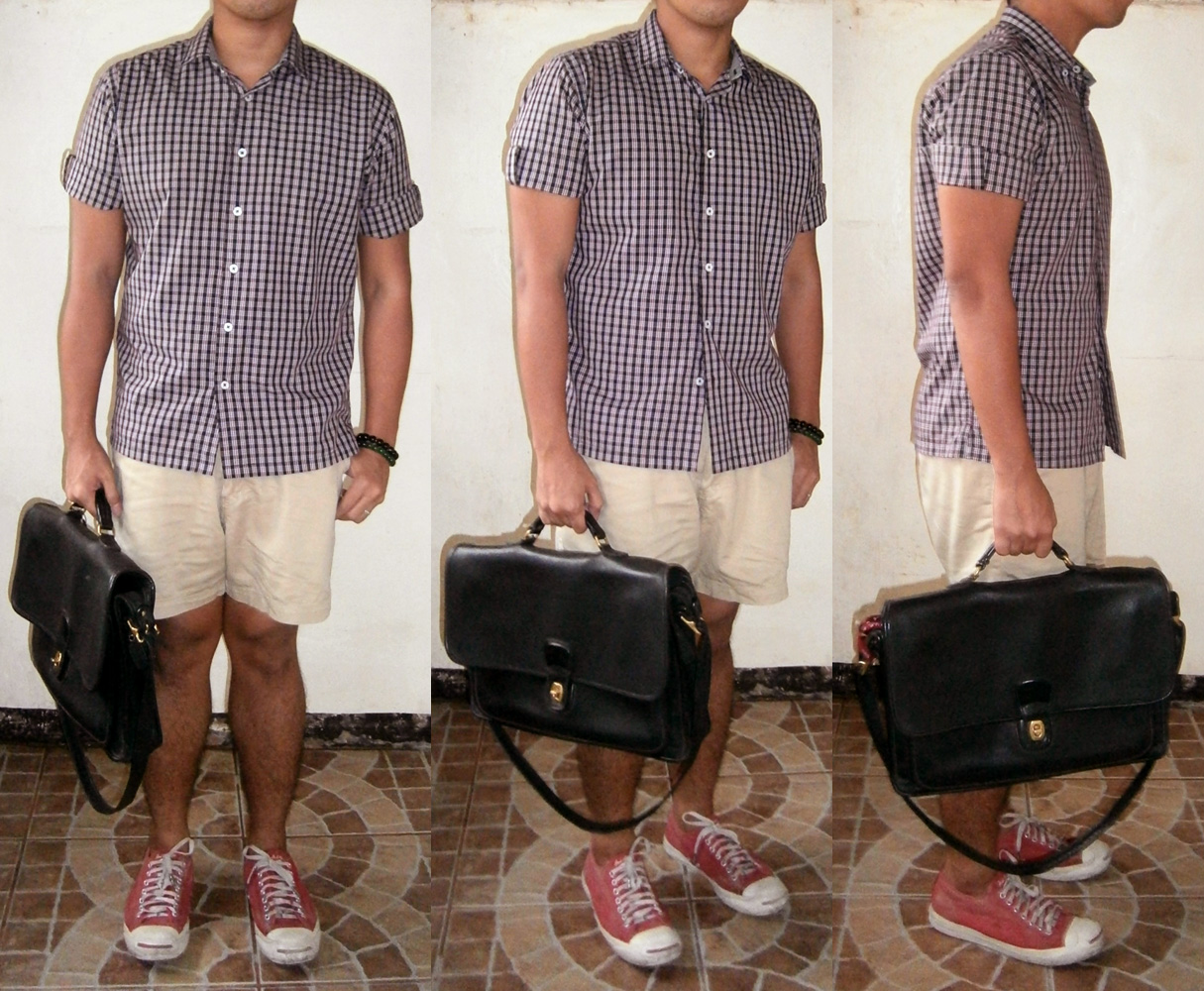 Check polo shirt, khaki shorts, red Jack Purcell Converse sneakers, black Coach metropolitan briefcase messenger - Manila, Philippines