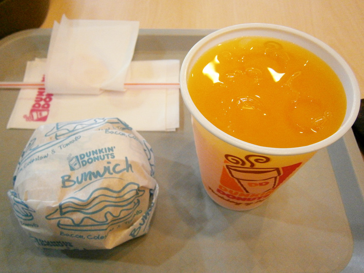 Dunkin' Donuts Bunwich and orange juice - Farmers Plaza, Cubao, Philippines