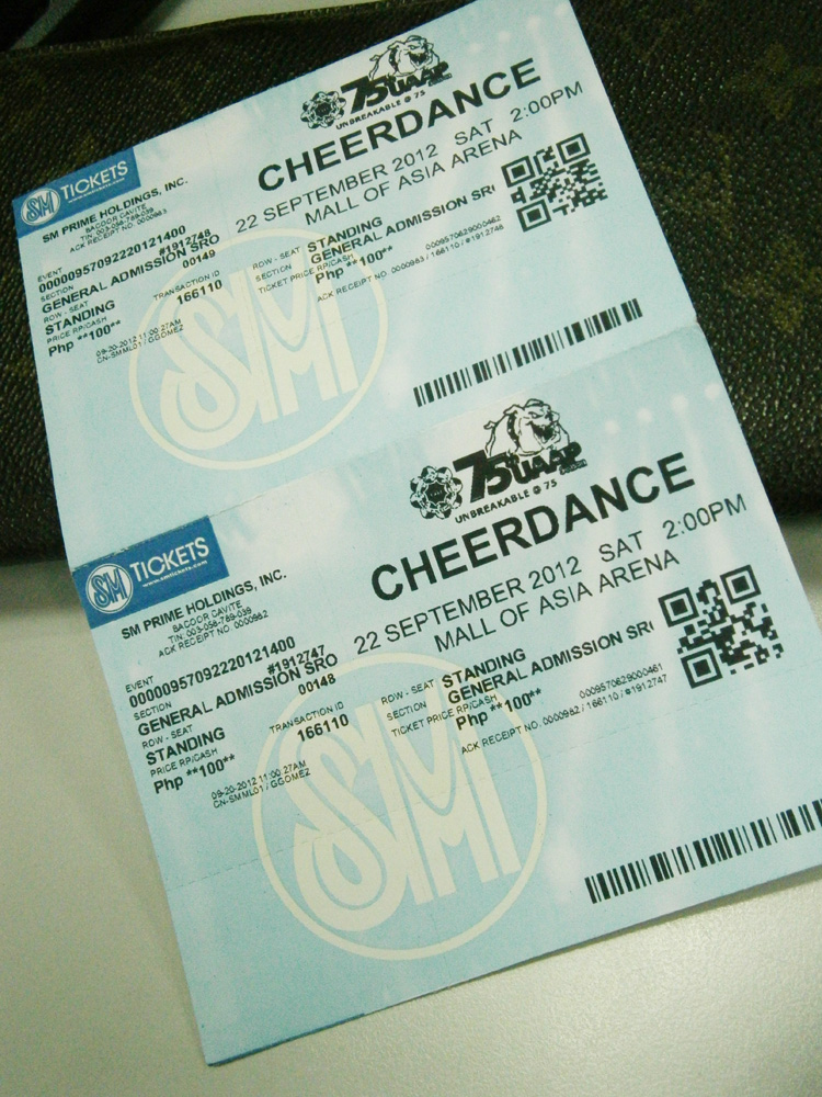 Gen Ad tickets for 2012 UAAP Cheerdance Competition