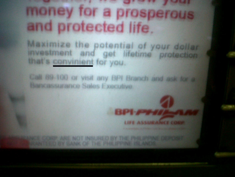 How 'convinient' - typo error on an ATM of BPI