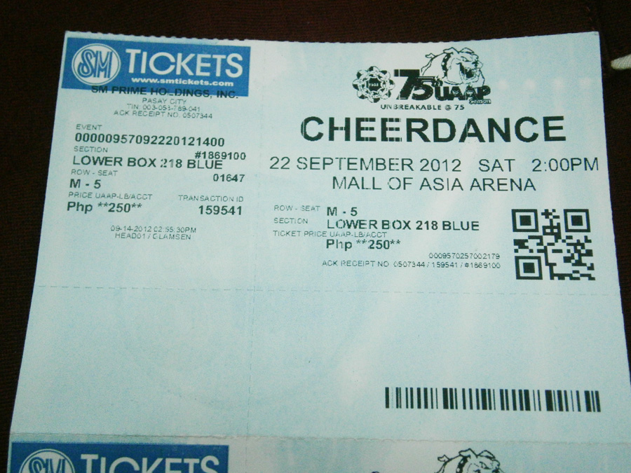 Lower Box Tickets for 2012 UAAP Cheerdance Competition