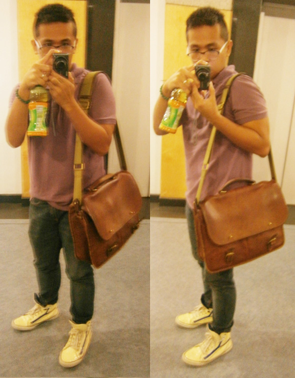 MY BROTHER'S SHIRT from F&H, Bench skinny jeans, patent Yves Saint Laurent sneakers, Mulberry wexford messenger briefcase