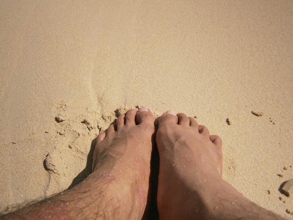 My feet and the white sand - Potipot Island, Zambales