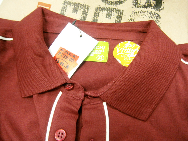 Token maroon shirt from the sale rack, no, basket