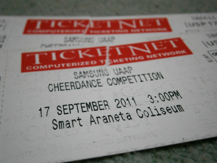 UAAP Cheerdance Competition Tickets - 2012 UAAP Cheerdance Competition TIcket