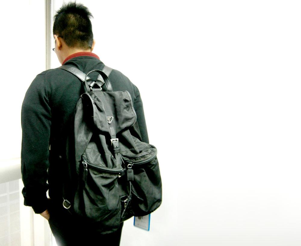 eac4583cd453 black leather prada backpack