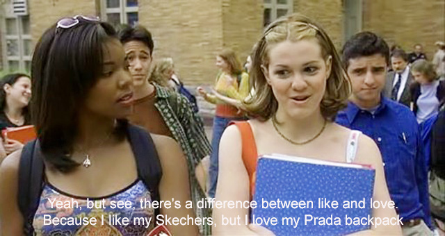 Bianca (Larisa Oleynik) as Bianca with her epiphany over a Prada backpack in 10 Things I Hate About You - with Gabrielle Union and Joseph Gordon Levitt