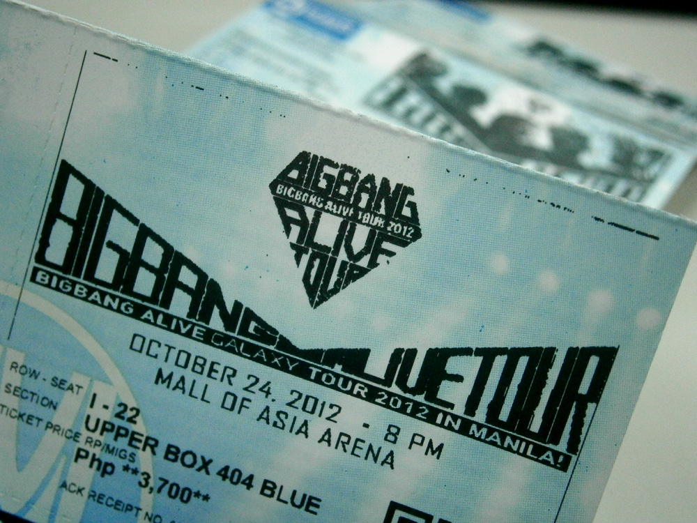 BIG BANG Alive Galaxy Tour 2012 Manila Tickets - Philippines, YG Entertainment - SM Tickets
