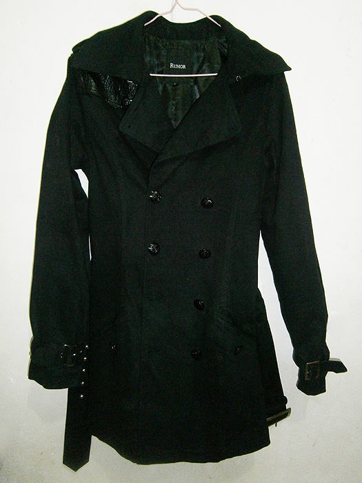 Black military-insipred belted trench coat with epaulette