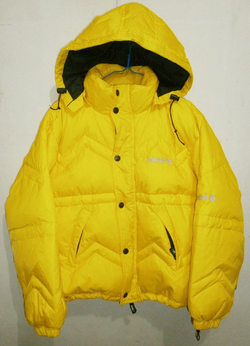 Bright yellow puffer jacket from Timberland