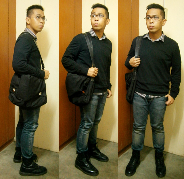 Check polo, black H&M sweater, JAG jeans, black 8-hole Doc Martens, black Gucci microfiber messenger bag - Manila, Philippines